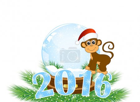 Christmas card with the numbers of the year 2016 and monke