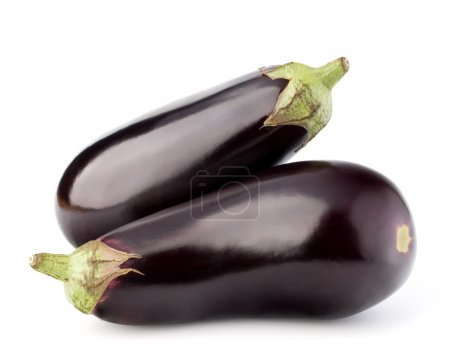 Eggplants or aubergines on white