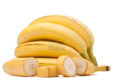 Foto de Racimo de plátanos aislado en el recorte del fondo blanco - Imagen libre de derechos