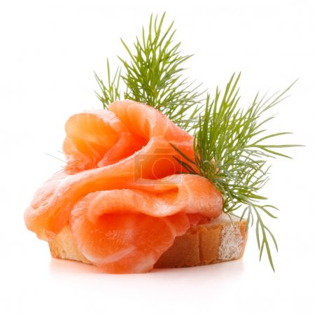 Photo for Sandwich or canape with salmon on white background  cutout - Royalty Free Image