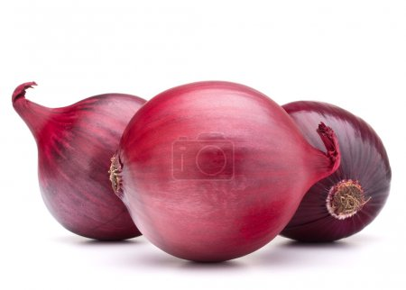 Photo for Red onion bulbs isolated on white background cutout - Royalty Free Image
