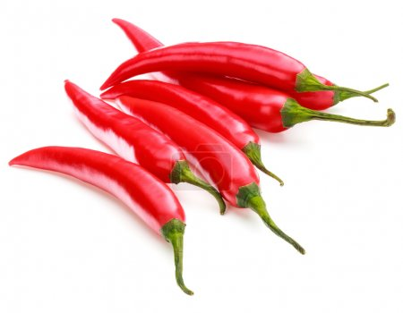 Photo for Red chili or chilli cayenne peppers isolated on white  background cutout - Royalty Free Image