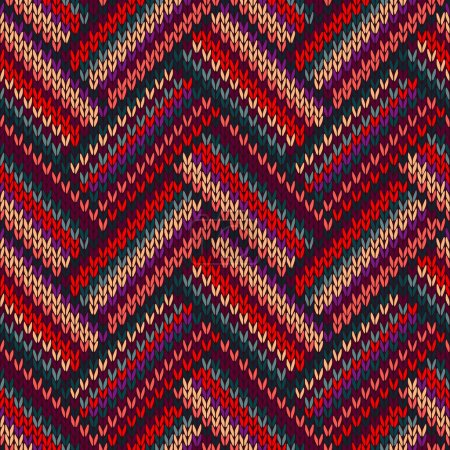 Photo for Style Seamless Red Green Violet Color Knitted Pattern - Royalty Free Image