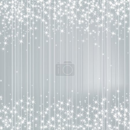 Bright Silver Background with Stars. Festive Design. New Year, C