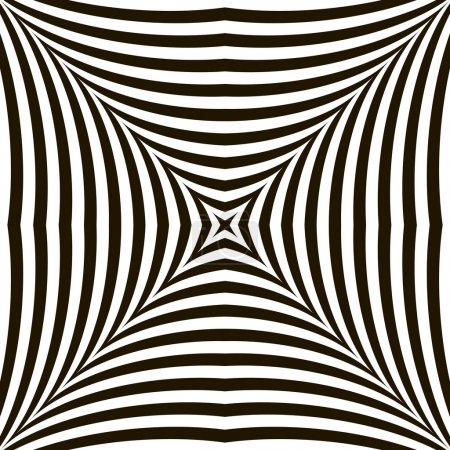 Black and White Geometric Vector Shimmering Optical Illusion. Mo