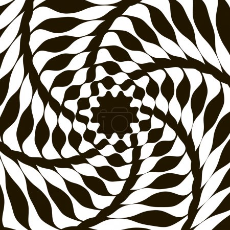 Black and white optical illusion. Op art vector background with