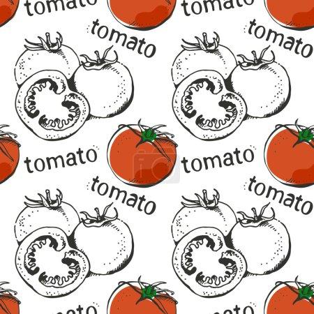 Tomatoes hand drawn seamless pattern