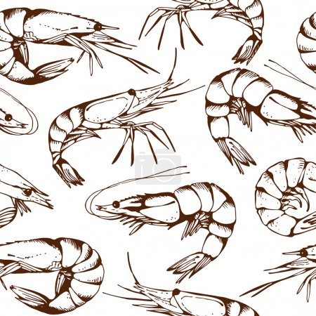 Seamless seafood pattern with hand drawn shrimps