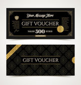 Gift voucher template with glitter gold Vector illustration Design for  invitation certificate gift coupon ticket voucher diploma etc