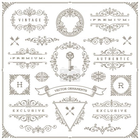 Illustration for Set of vintage design elements - flourishes and ornamental frames, border, dividers, banners and other heraldic elements for logo, emblem, heraldry, greeting, invitation, page design, identity design, shop, store, restaurant, boutique, hotel and etc. - Royalty Free Image