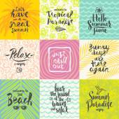 Set of summer holidays and tropical vacation hand drawn posters or greeting card with handwritten calligraphy quotes phrase and words Vector illustration