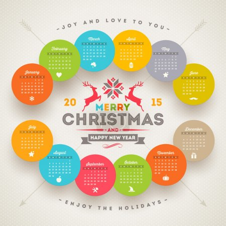 Vector template calendar 2015 with christmas type design