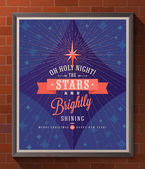 Holidays type design with christmas star and sunburst rays - Poster in wooden frame on a brick wall Vector illustration