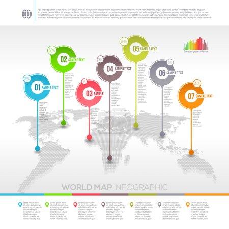 Illustration pour Modèle de conception vectorielle infographie de carte du monde avec des pointeurs de carte - image libre de droit
