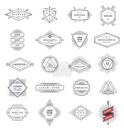Illustration pour Ensemble d'emblèmes et de signes hipster line avec sunburst - illustration vectorielle - image libre de droit