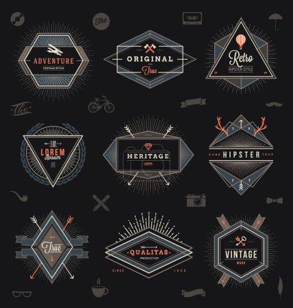 Set of hipster trendy emblems, labels and sign - vector illustration