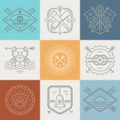 Adventures nautical and travel emblems signs and labels - Line drawing vector illustration