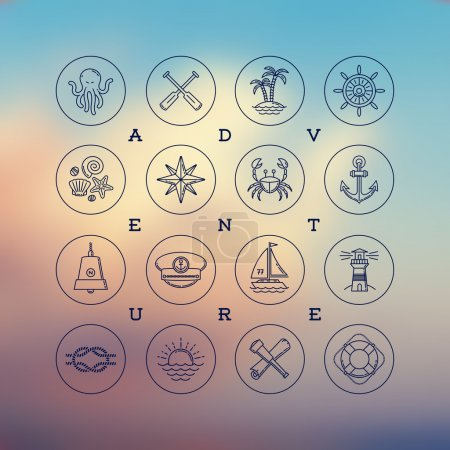 Line drawing vector icons - travel, adventures and nautical signs and symbols