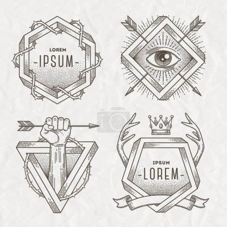 Illustration for Tattoo style line art emblem with heraldic elements and impossible shape - vector illustration - Royalty Free Image