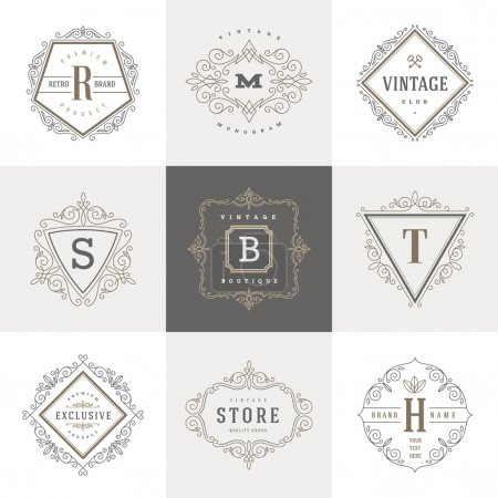 Illustration for Monogram logo template with flourishes calligraphic elegant ornament elements. Identity design with letter for cafe, shop, store, restaurant, boutique, hotel, heraldic, fashion and etc. - Royalty Free Image
