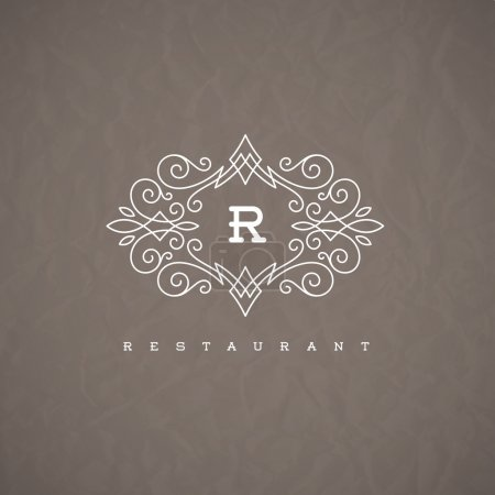 Illustration for Monogram logo template with flourishes calligraphic elegant ornament elements. Identity design with letter for restaurant or cafe, shop, store, boutique, hotel, heraldic, fashion and etc. - Royalty Free Image