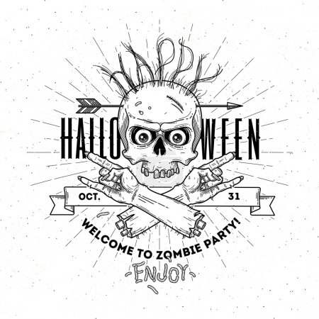 Halloween poster with zombie head and hand - line art vector illustration