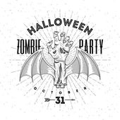 Zombie rotten hand with bat wings - halloween line art vector illustration