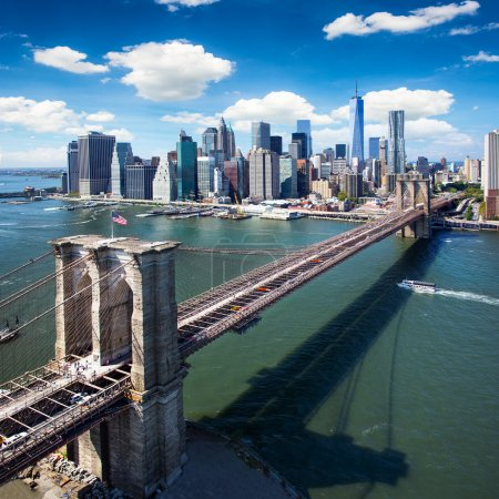 Brooklyn Bridge in New York City - aerial view
