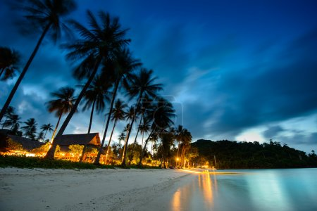 Photo for Bungalows, palms and beach at sunset in thailand paradise - Royalty Free Image