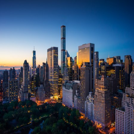New York city - amazing sunrise over central park and upper east side manhattan - Birds Eye - aerial view