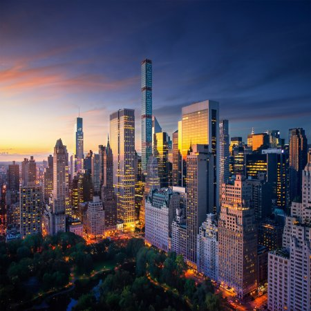 New York city - amazing sunrise over central park and upper east side manhattan - Birds Eye / aerial view