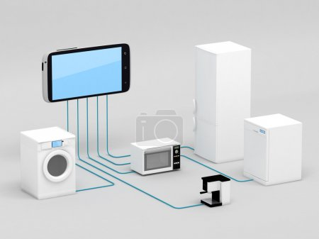 Photo for Internet of Things Concept - Home Appliances Connected To Smartphone - Royalty Free Image