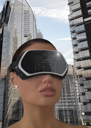Photo pour Illustration 3d d'une femme utilisant un affichage tête-monté de réalité virtuelle (Hmd). - image libre de droit