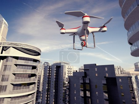 Photo for Drone Flying for Aerial Photography or Video Shooting - Royalty Free Image