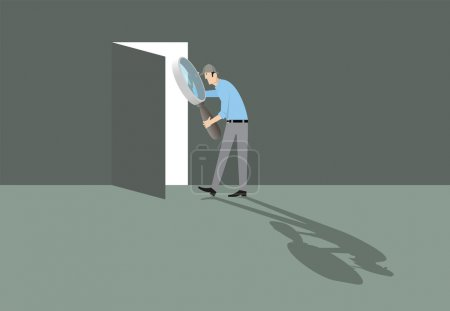 Illustration for Man with magnifying glass finding the door to way out. - Royalty Free Image