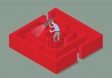 Illustration for Man with torch finding the solution of a maze. - Royalty Free Image