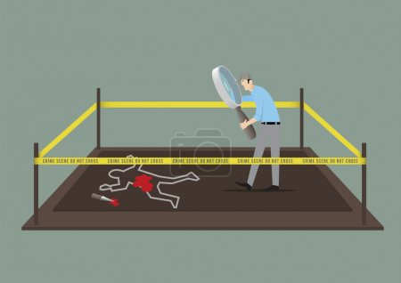 Illustration for Man With Magnifying Glass Investigating The Crime Scene. - Royalty Free Image
