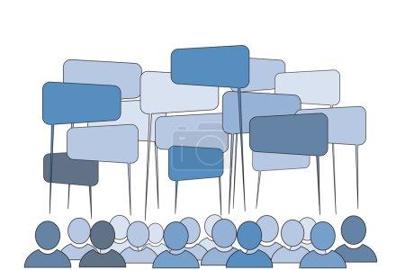 Illustration pour Notion communautaire - parler les gens : vector illustration - image libre de droit
