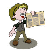 Newsboy holds out his paper for sale