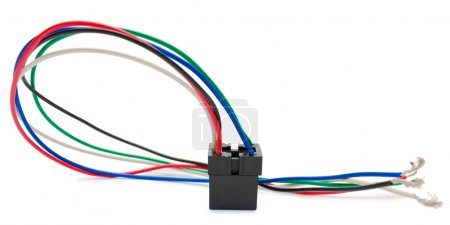 Wires connection relay isolated on white
