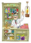Vintage pharmacist - cartoon