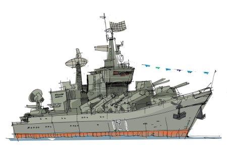 warship - cartoon  illustration
