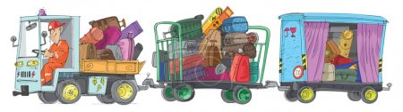 Illustration for Freight trolleys full of baggage - cartoon - Royalty Free Image