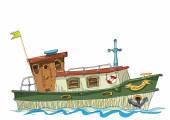 leisure barge - cartoon