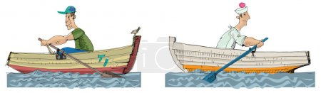 paddle boats - cartoon