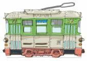 vintage tram - cartoon