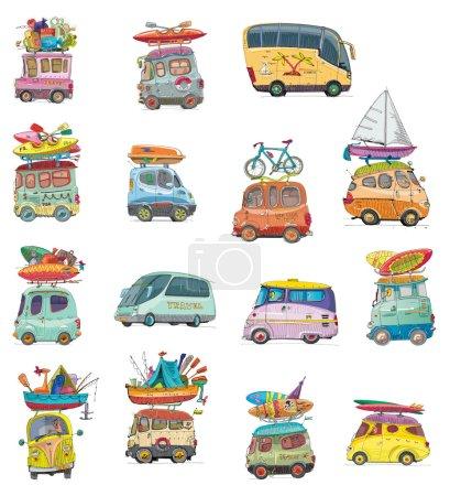 set of tour buses - vintage