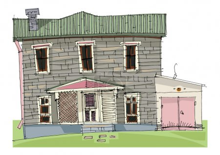 Illustration for Usual house - cartoon,vector - Royalty Free Image