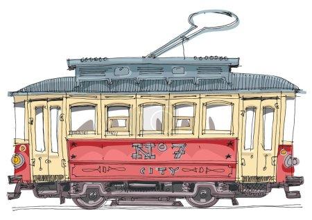 Illustration pour Tramway vintage - dessin animé, vecteur - image libre de droit