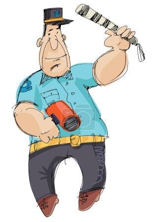 Illustration for Traffic police - cartoon,vector - Royalty Free Image